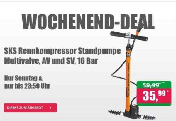 SKS Rennkompressor Standpumpe  Multivalve, AV und SV, 16 Bar