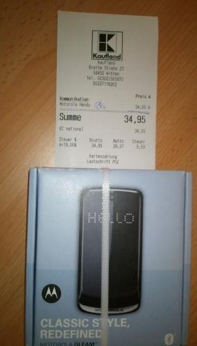 (lokal - Kaufland Witten) Motorola GLEAM - Schwarz (Ohne Simlock) - 34,95 Euro