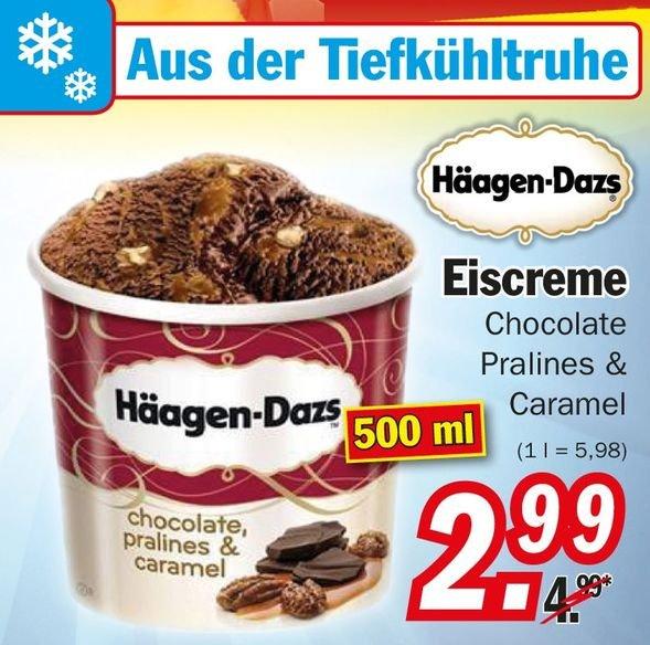 Häagen Dazs Chocolate Pralines & Caramel Eiscreme 500ml für nur 2,99 bei Zimmermann Bundesweit coupies möglich dann nur 1,99€!!!
