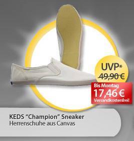 OHA@meinpaket.de: Keds Slip on Champion, Herren Sneaker in WEISS, verschiedene Größen, gültig bis Montag 10 Uhr