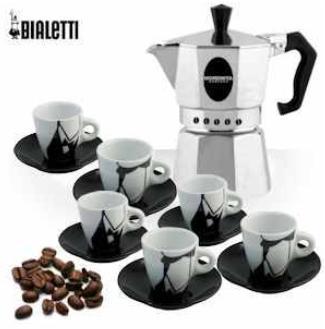 """Bialetti Morenita Espressokocher mit 6-teiligem Tassenset """"Puzzle"""""""