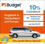 Budget(qipu Reisespecial) 10% Cashback auf jede Mietwagenbuchung + 15€ Amazon.de Gutschein*