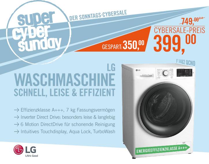 LG F 14U2 QCN0 für 399€ @ Cyberport - 7kg Maschine mit Inverter Motor & 10 Jahren Motorgarantie!