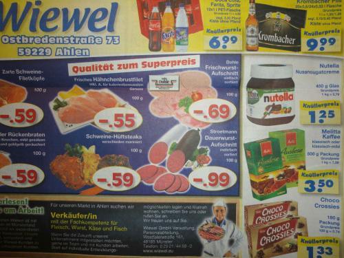 Nutella 450g für 1,25 € (lokal Edeka Wiewel AHLEN/Westf., Münster, Lüdinghausen)