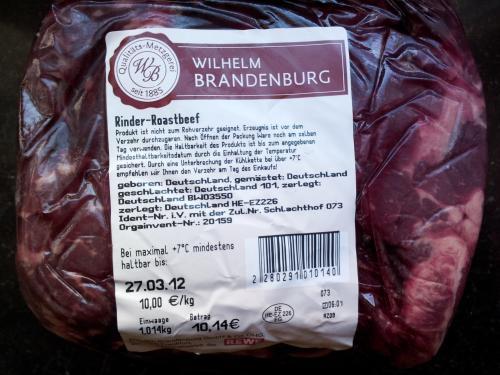 [Offline] Rinder Steakhüfte/Roastbeef (lokal?) für 10€/kg bei REWE