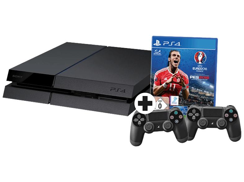 [mediamarkt.de] SONY PlayStation 4 Konsole CUH-1216A 500GB Schwarz inkl. UEFA Euro 2016 und 2 Controllern [PS4] für 299,00€ inkl.Versand *Update*