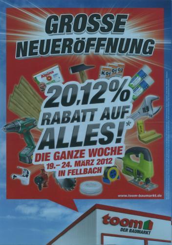 [lokal&offline] 20,12% Rabatt auf alles beim Toom Baumarkt in Fellbach vom 19.-24. März