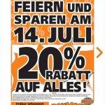 20% auf alles bei Globus Baumarkt in Zweibrücken am 14.07.