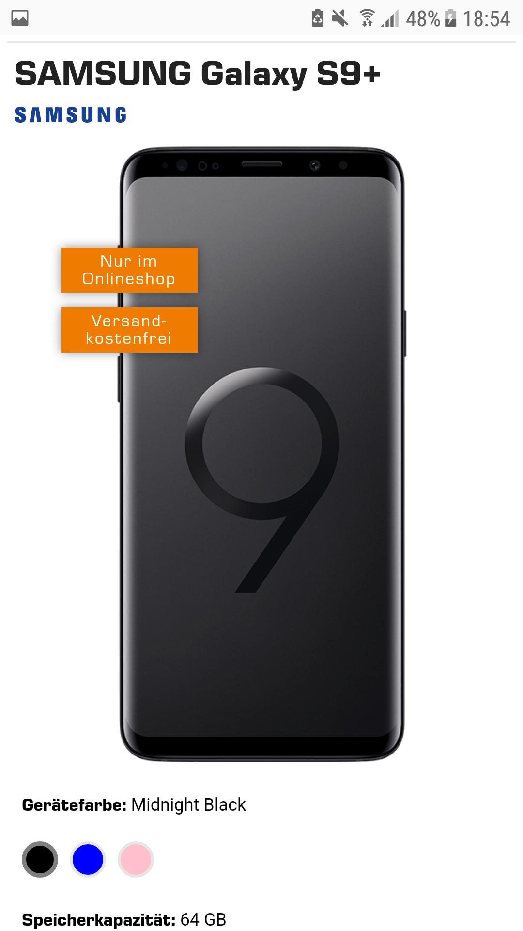 Samsung S9+ mit 8GB, Allnet-Flat und SMS-Flat