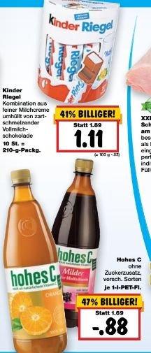 [Kaufland Super-Weekend 21.07 - 23.07 Bundesweit] Ferrero Kinder Riegel, 10Stück Packg. für 1,11€ oder Hohes C, 1Ltr. Flasche in verschiedenen Sorten für 0,88€