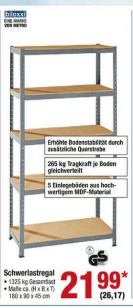 [Metro - offline] biloxxi Schwerlastregal 5 Böden à 265 kg