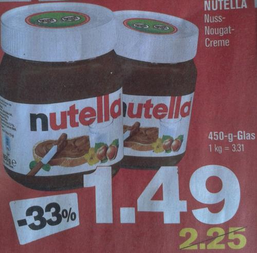 Nutella - 450-g-Glas für 1,49€ @ Penny [FRAMSTAG]