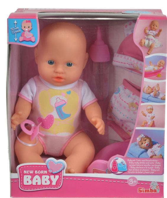 Puppe (30cm) - New Born - mit Kleidungsset + Töpfchen + Flasche von Simba für 9,34€ mit [Amazon Prime] statt ca. 20€