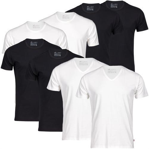 Puma 4er Pack T-Shirt Tee Rundhals oder V-Neck weiß , schwarz