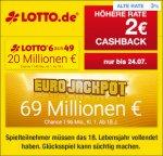 (Qipu) Lotto.de: 2€ Cashback bei 6aus49, Eurojackpot, Keno oder Glücksspirale