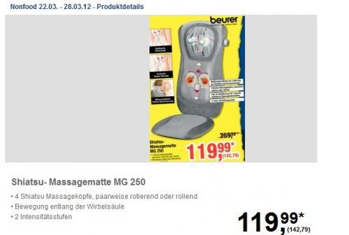 [Offline] beurer Shiatsu Massagematte MG 250 @ Metro nur 142,79€ vom 22.03 - 28.03.12 bundesweit