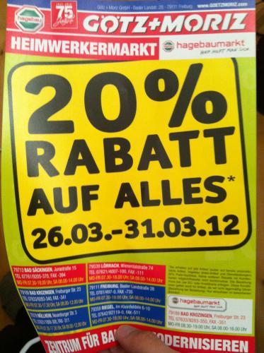 Baumärkte: Hagebau 20% auf ALLES, Hornbach 28%, Bauhaus 30% [deutschlandweit durch Tiefpreisgarantie]