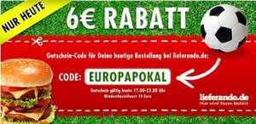6 Euro Lieferando Gutschein 10 Euro MBW nur gültig heute 17-22 Uhr für JEDEN!