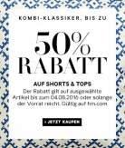 Gut kombiniert: Gratis Versand + 50% Rabatt auf Kombi-Klassiker bei H&M, viele Shorts für 4,99€