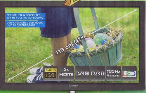 "Lokal Blaupunkt LED-TV 119cm / 47"" - ""B47A187TCHD-100"" ab dem 02.04.2012 bei Marktkauf"