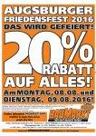 Globus Königsbrunn 20 % auf alles am 8.8.+9.8.2016