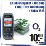 o2 Inklusivpaket mit 100 Minuten + 100 SMS: 180€ Auszahlung + Nokia 1616