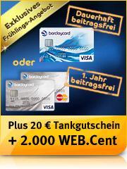 Barclaycard New Visa(Dauerhaft beitragsfrei ) 20,- Euro Tankgutschein +  20 Euro Amazon Gutschein @Web
