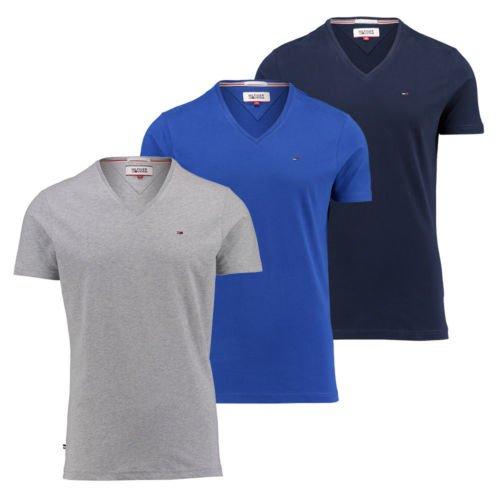 Ebay - Engelhorn - Hilfiger Denim Herren T-Shirt S M L XL V-Ausschnitt NEU Basicshirt V-Neck