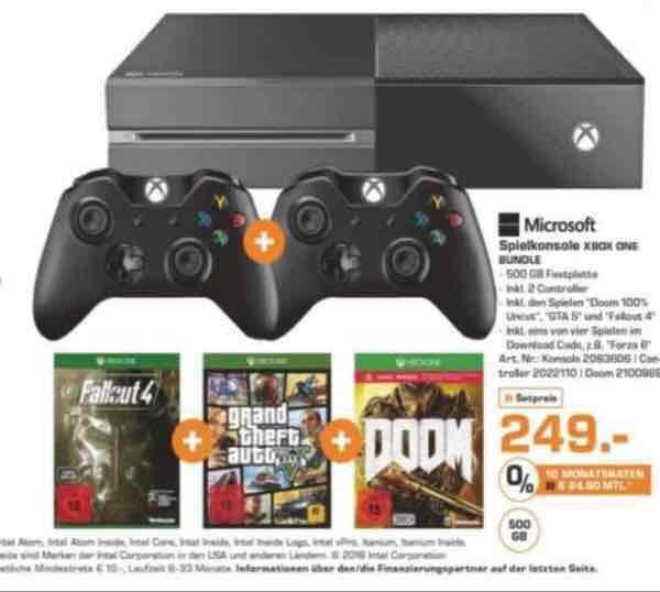 Xbox One 500GB + 2. Controller + Doom, GTA 5 und Fallout 4 + Alan Wake für 249€ [Saturn]