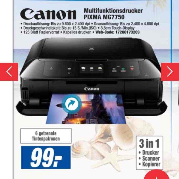 [Lokal Expert AG] Multifunktionsdrucker Canon MG 7750 für 99€ Idealo 128,94€