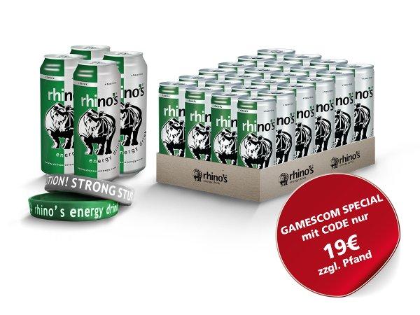 28 Dosen Rhino's Energy Drink für 19€, 41% Ersparnis