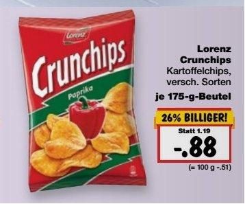 [Kaufland KW34] Lorenz Crunchips zum Preis von 88 CENT  statt 1,19€
