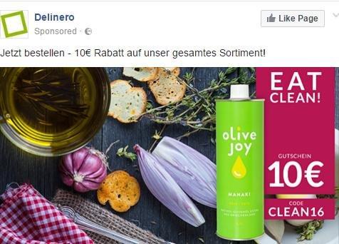 delinero.de Gutschein 10€, ohne MBW + Versand 5,90€