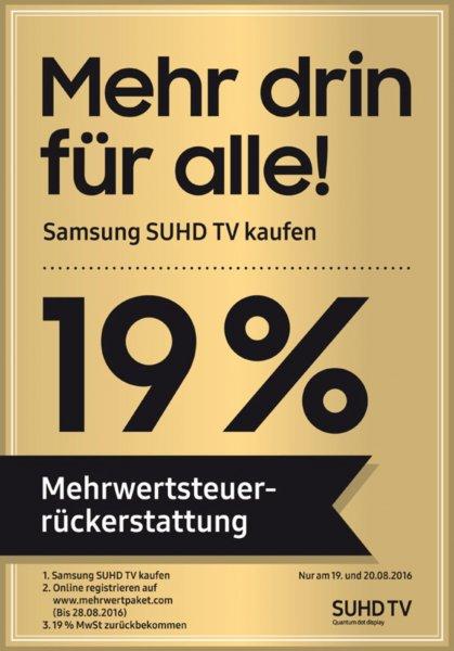 """SAMSUNG 19% """"Mehrwertsteuer zurück"""" auf SUHD TV (cash back)"""