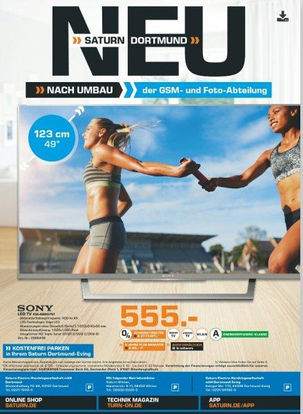 [Lokal - Saturn Dortmund] SONY KDL-49WD757 LED TV (Flat, 49 Zoll, 123 cm, Full-HD, 400 Hz, Android-TV, SMART TV) für 555€, 26% unter Idealo
