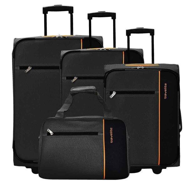 [Karstadt] TRAVELITE Portofino 2-Rollen Kofferset + Boardtasche 4tlg., schwarz anthrazit