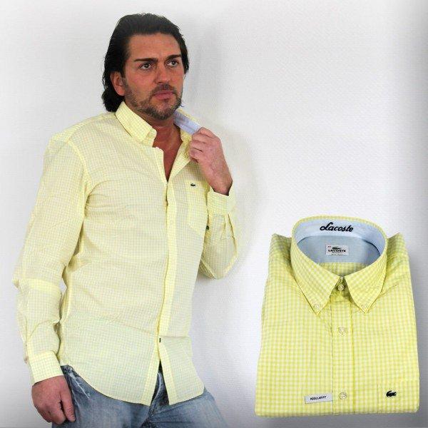 (Sim-Buy) Lacoste Herren Langarm Hemd gelb für € 25,95 in den Größen 39-44 vorhanden