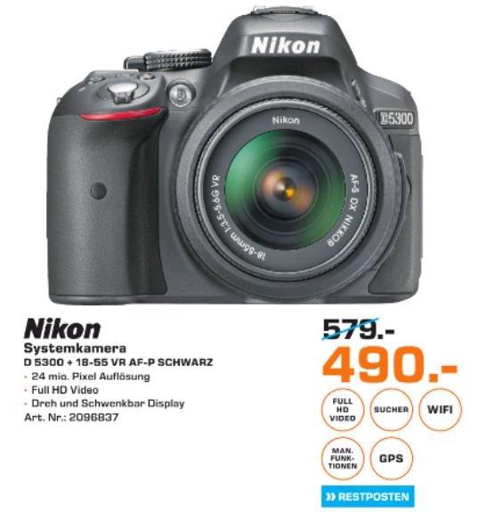 [Saturn Braunschweig] Nikon D5300 SLR-Digitalkamera Kit DX AF-P 18-55 VR schwarz