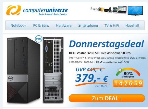 DELL Vostro 3250 SFF Mini-PC - CoreI5 /Win10 Pro für 379 bei Computeruniverse