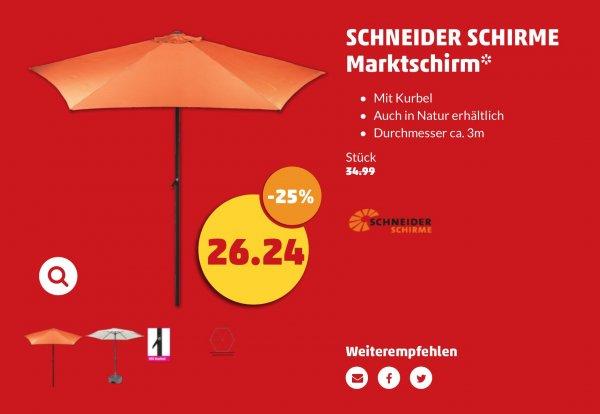 [Penny/Bundesweit] Schneider Marktschirm 3m Durchmesser terracotta oder natur für 26,24€ ab 25.08.2016
