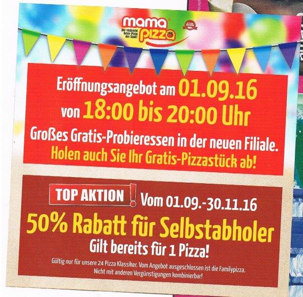 [lokal Unterschleissheim] Gratis Pizza-Stück am 1.September @ Mama Pizza Lieferservice + 50 % Rabatt auf Pizzen bis 30.11.