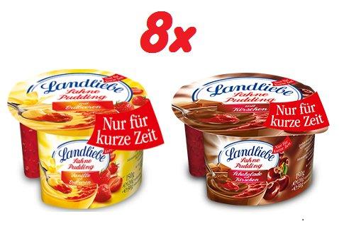 [WIGLO MV/NI/SA] 8x 150g (1,2kg) Landliebe Sahne-Pudding (Vanille-Erdbeere//Schoko-Kirsch) für nur 2,00€ (=0,25€/Stück)