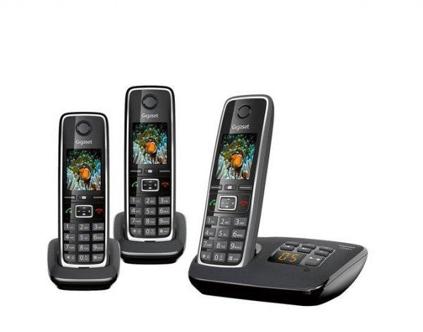 Gigaset C530A Trio, Festnetztelefon, DECT, schnurlos, mit Anrufbeantworter und 3 Handteilen, Schwarz/Silber @allyouneed 79,95€