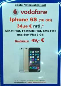 iPhone 6s 16Gb/64Gb + Vodafone 3GB bis 42,2 Mbit/s, Allnet Flat Aktion Saturn Leipzig Hbf