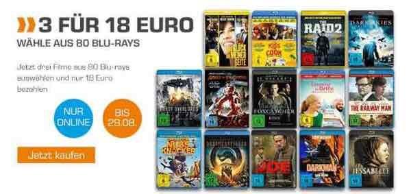 3 Blu-Rays für 18€ bei Saturn online gilt bis 29.08.