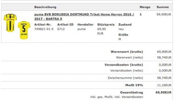 BVB Trikot 2016/17 mit Flock Home/Away für 69,90€ statt 89,90€ inkl. VSK