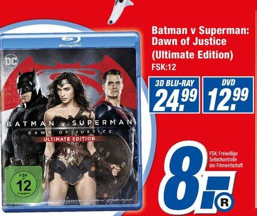 [Lokal Expert Stadthagen/Schwerin und 7 weitere] Batman v Superman: Dawn of Justice – Ultimate Edition [Blu-ray] für 8,-€