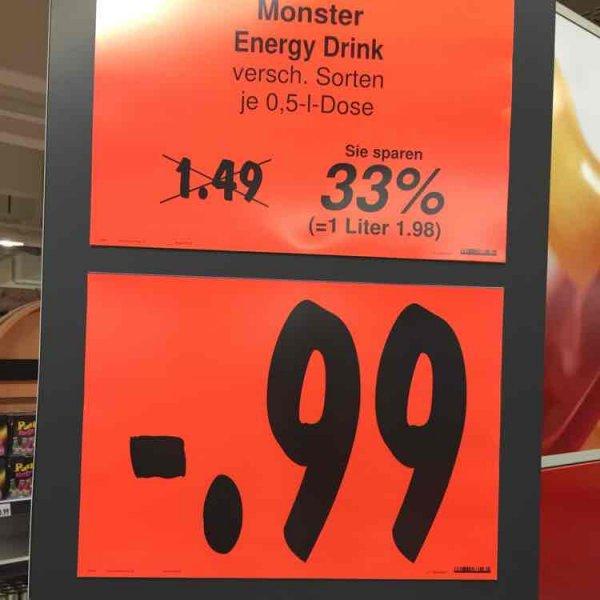 [LOKAL] Kaufland Hamburg Friedrich-Ebert-Damm MONSTER Energy 0,99€