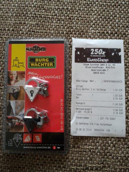 ? 2 kleine Vorhängeschösser von Burgwächter für 1 € @ Euroshop Köln (Bundesweit?)