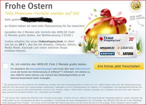 WEB.DE verschenkt wieder 10,- € Best-Choice-Gutschein für 2 Monate WEB.DE-Club-Mitgliedschaft